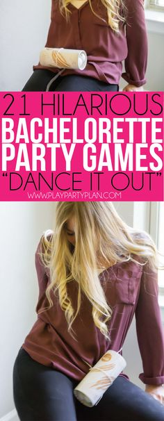 21 hilarious bachelorette party games that are clean, classy, and tasteful (only the names are dirty and raunchy), making them perfect for a girls night at home! No need for any drinking or a trip to Bachlorette Party, Bachelorette Party Essen, Bachelorette Games, Bachelorette Weekend, Ted, Cha Bar, Hen Party Games, Hen Games, Dance Games
