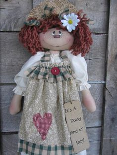 Daisy Day primitive bag doll e pattern by DeenasCountryHearth