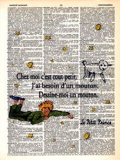 "Dictionary Art Print,Vintage art,Drawing, print poster, illustration,wall decor,Kids decor,""Le Petit Prince"",""CHez moi c..."" ""Little Prince"""