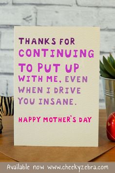 """This funny Mother's Day card from daughter is the perfect gift to let your mum know you love her. This hilarious card is available now from our Etsy store Cheeky Zebra Card Shop or our main website www.cheekyzebra.com. We can also change the spelling to """"Mom"""" or """"Mum"""" depending on where you're based! #mothersdaycard #funnymothersdaycard #mothersdaygift #mothersdaygifts #mom #mum"""