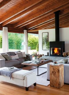 Fireplace and a cozy looking living room