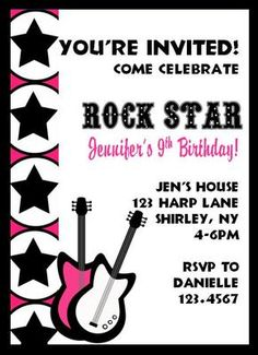 Rock Star Birthday Invitations!