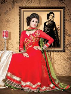 USD 83.81 Red Faux Georgette Embroidery Salwar Suit 31624
