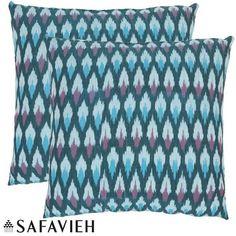 Safavieh Diamond Ikat 22-inch Blue Decorative Pillows (Set of 2) (Pair OF 22 Blue Luca Pillows 100% Handwoven Cotton), Size 22 x 22