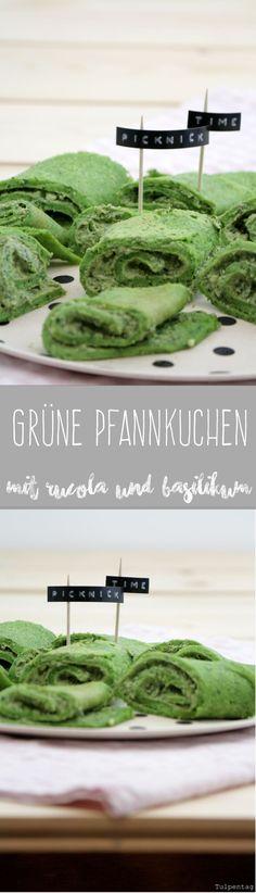 Tulpentag: Pfannkuchen ganz in Grün #rucola #pesto #basilikum #picknick #snack #crepes