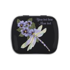 Pansies and Dragonfly Candy Tin with Jelly Belly candies. Pick a favorite flavor.