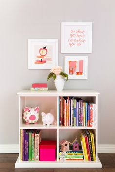 A pretty, but not too girly, children's room from Designed Improvised with Minted art.