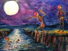 Another painting I did of some skeletons.  I miss jumping into water with friends.
