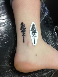 Little Redwood Tree. Ankle tattoo.