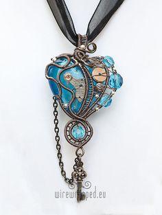Aqua blue steampunk heart with key ukapala Etsy