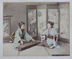 JAPAN - C1880 Girls playing Koto & Samisen