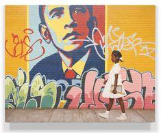 Obama -Ruby Bridges, hyperrealistic graffiti art by Kevin Peterson