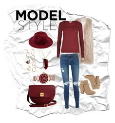 """""""model style"""" by ina-kis ❤ liked on Polyvore featuring River Island, The Code, Michael Kors, Current/Elliott, Forever 21, Kenneth Jay Lane, red, fur and wool"""