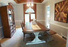 DIY Farmhouse table, bench and art