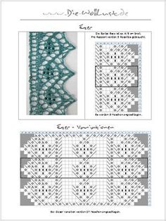Knitting lace edging 24 ideas for 2019 Lace Knitting Stitches, Lace Knitting Patterns, Knitting Charts, Lace Patterns, Easy Knitting, Knitting Designs, Knitting Projects, Stitch Patterns, Tricot D'art