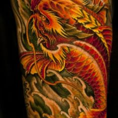 Half-sleeve-colour-Dragon-Koi-Fish-tattoo-368x1024