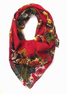 LotsaFashion Deep red floral square scarf #scarf #scarvesforwomen