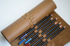 Leather Pencil Case Roll 29 slots and a weave...Upcycled