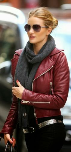 Red distressed Leather moto Jacket With Black Jeans And gray Scarf