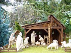 handgeschnitzte Holzfiguren: Handgeschnitzte Weihnachtskrippe 12 handgeschnitzte Figuren