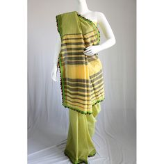 Olive green embroidered handloom cotton saree - Kriti-Kala