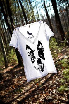 Women Boston Terrier Smile White V Neck Shirt