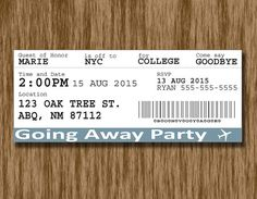 Plane Ticket Going Away Party Invitation
