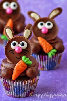 Reese's Cup Easter Bunny Cupcakes: These peanut-butter and chocolate-packed cuties are exactly what your holiday dessert spread needs. Click through for more easy and cute Easter cupcakes for kids.