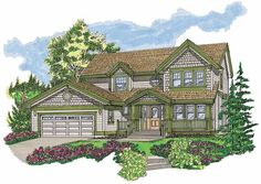 Love the 1st floor. Very different:) -- Eplans Craftsman House Plan - Elegant with a Traditional Warmth - 2116 Square Feet and 4 Bedrooms from Eplans - House Plan Code HWEPL06272