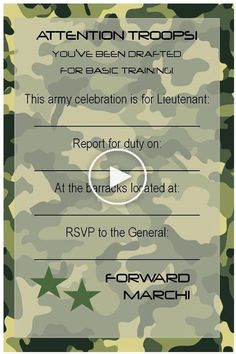 A military party would be very suitable for a meeting or parting member services. This theme has also been widely used for birthday parties kids and adults. However your military party, use interesting and creative invitation to provide information t Camouflage Party, Camo Party, Nerf Party, Army Themed Birthday, Army Birthday Parties, Army's Birthday, Birthday Ideas, Birthday Banners, Birthday Recipes