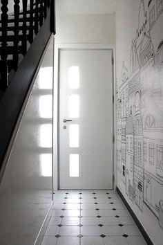 Rénovation et décoration d'une maison 1930, La Madeleine. Modification de l'organisation du rez-de-chaussé. Ambiance noir et blanc, style anglais.