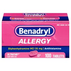 Each tablet contains 25 mg diphenhydramine HCI antihistamine. Provides allergy relief for symptoms: sneezing, runny nose, itchy nose or throat, and itchy, watery eyes. Sinus Medicine, Allergy Medicine, Allergy Asthma, Allergy Relief, Allergy Symptoms, Dog Allergy, Benadryl For Dogs Dosage, Heartburn Relief