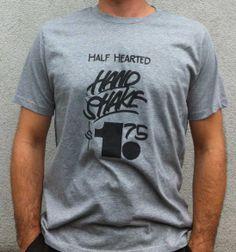 Half Hearted Hand Shake - gray New T, Shake, Gray, Colors, Mens Tops, T Shirt, Black, Fashion, Ash