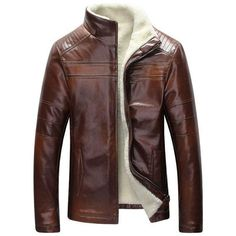 Perfect Fit West Louis™ Inside Fleece Lining Leather Jacket for sale Men's Leather Jacket, Shearling Jacket, Leather Men, Jacket Men, Patent Leather, Sheep Leather, Real Leather, Bomber Jacket, Brown Jacket