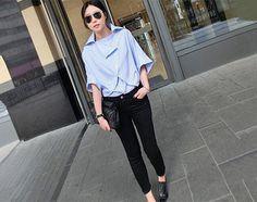 camisa azul namorado para as mulheres, desde a concepção QandAfashion assimétrica estruturada, oversized, casual, manga batwing, estilo de moda.