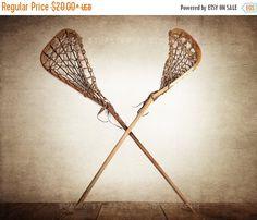 VETERANS DAY SALE Vintage Lacrosse Sticks Crossed by shawnstpeter