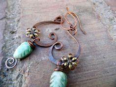 Tophatter : Handmade Spring Swirl Earrings- Copper Brass and Tree Jasper