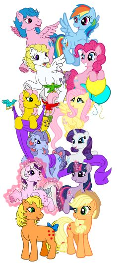 """from G1 to now. """"FireFly - Rainbow Dash"""" """"Suprise - Pinkie Pie"""" """"Posey - Fluttershy"""" """"Dazzler - Rarity"""" """"Twilight - Twilight Sparkle"""" """"Applejack - Applejack"""" ...the only ponies who stayed the same color (including hair) is Applejack and Fluttershy."""