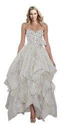 ZHUOLAN White Sweetheart Tea Length Gown in Lace Wedding Dress 12