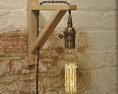 Wall Sconce Antique Brass Birch Wood Light Lamp by wiresNjars