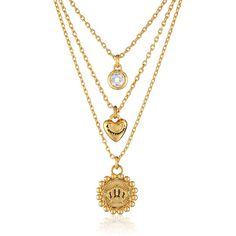 """Juicy Couture Triple Strand Coin and Heart Necklace, 20"""" ($52) ❤ liked on Polyvore featuring jewelry, necklaces, accessories, juicy couture, coin jewellery, heart jewelry, heart jewellery and heart shaped necklace"""
