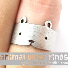 Simple Cute Teddy Bear Animal Wrap Hug Ring in Silver Sizes 4 to 9 $10 #bears #animals #jewelry #ring #cute