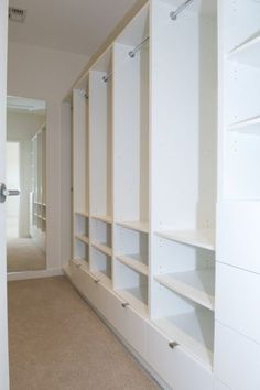 Super Narrow Closet Layout Built Ins Ideas Narrow Closet Design, Long Narrow Closet, Small Master Closet, Master Closet Design, Master Bedroom Closet, Closet Designs, Walk In Robe Designs, Master Bedrooms, Wardrobe Closet