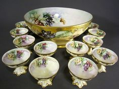 Limoges Punch Bowl 12 Footed Cups Roses Grapes Artist Signed Hand Painted | eBay