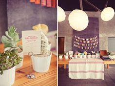 potted plant escort card table  Photos by Natalie Shelton.