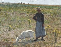 Henri Le Sidaner - Paysanne promenant sa chèvre, Etaples (1887)