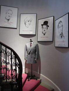 Drawings of some of the customers of Gieves & Hawkes on Savile Row, such as the Duke of Cambridge, Diana, Princess of Wales, Charlie Chaplin and Sean Connery Bespoke Suit, Savile Row, Duke Of Cambridge, Charlie Chaplin, Princess Of Wales, Best Cities, The Row, Gallery Wall, Pure Products