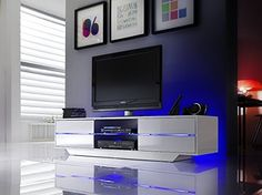 BLUES TV stand / Modern TV cabinet with RGB multicolor LED lighting system / European design High Gloss White TV stand with 4 drawers