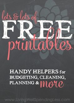 Lots & lots of FREE printables--this awesome resource page includes budget worksheets, meal planning worksheets, cleaning & organizing checklists, a holiday planner & MUCH more!!