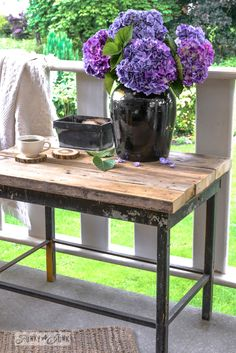 An instant, chunky 2x4 tabletop with firewood coasters, for a patio table via FunkyJunkInteriors.net